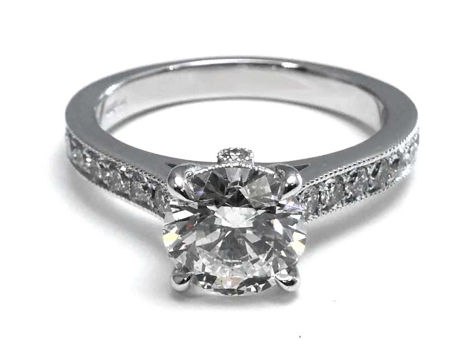 Cathedral Diamond Engagement Ring with Surprise Diamond, 0.40 tcw.