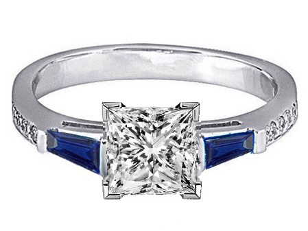 Princess Engagement Ring Blue Sapphire & Diamonds accents 0.44 tcw. In 14K White Gold