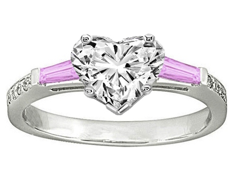 Heart Engagement Ring Pink Sapphire & Diamonds accents 0.44 tcw. In 14K White Gold