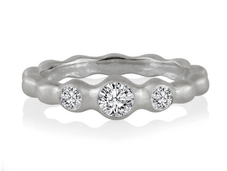 Three Stone Diamond Wave Engagement Ring in 14K White Gold, 0.30tcw.