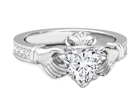 Heart Shape Diamond Claddagh Engagement Ring in 14K White Gold