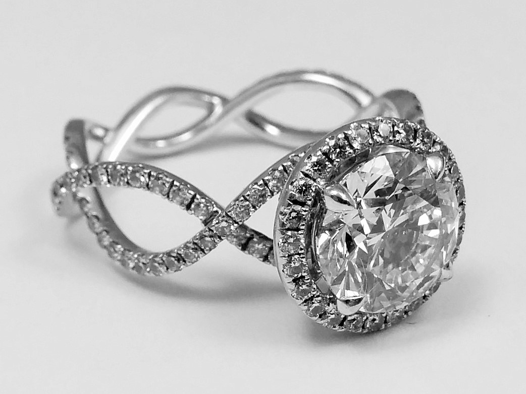 Diamond Halo Infinity Eternity Engagement Ring with Crown Accent, in 14k White Gold