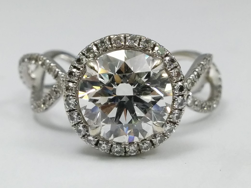 Diamond Halo Infinity Eternity Engagement Ring with Crown Accent