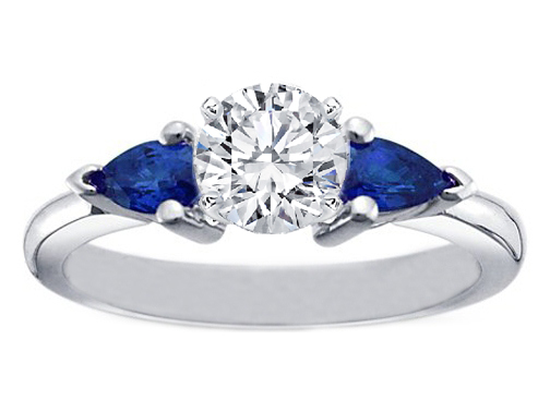 Diamond Engagement Ring with Pear Shape Blue Sapphires 1.25 tcw in 950 Platinum