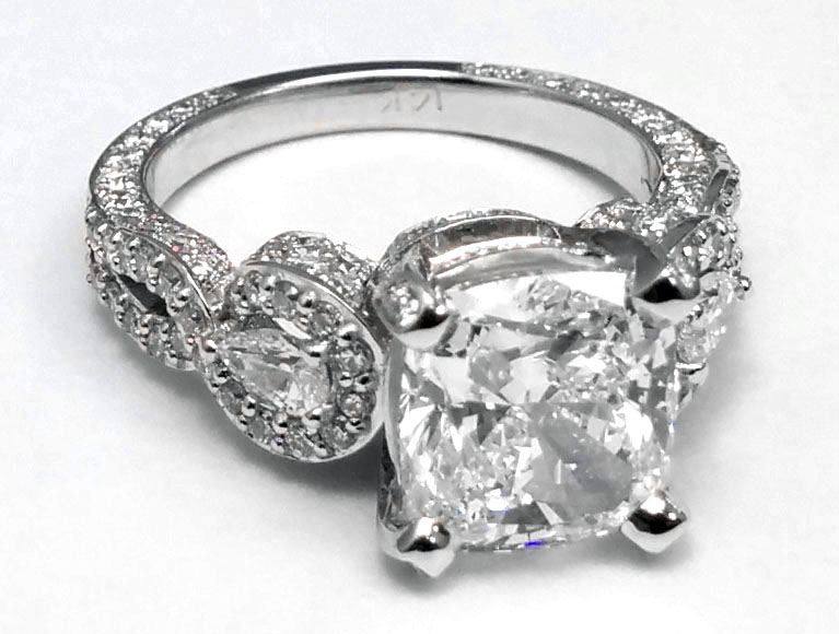 Large Cushion Diamond Vintage Engagement Ring in 14K White Gold