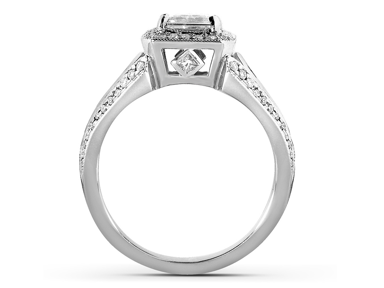 Asscher Cut Diamond Halo Engagement Ring with Kite Shaped Accents in 14k White Gold