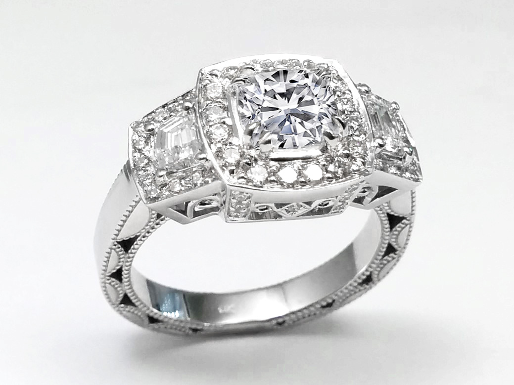 Cushion Halo with Trapezoid Accents In 14k White Gold