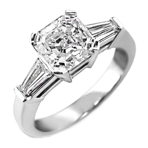 Asscher Diamond Engagement Ring with Tapered Baguette Diamond Accents 0.52 tcw.