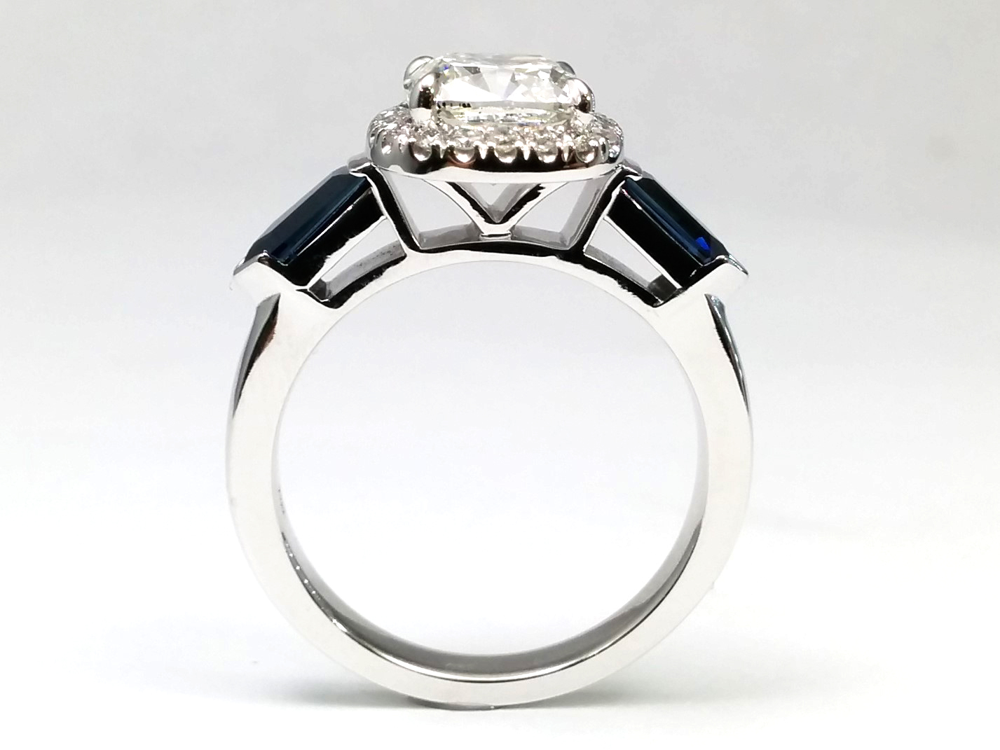 Diamond Halo Engagement Ring, Blue Sapphire Bullet Sides in 14k White Gold