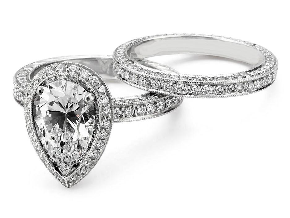 Pear Shaped Diamond Wedding Sets | Engagement Ring Pear Shaped Halo Pave Diamond Bridal Set Es1409