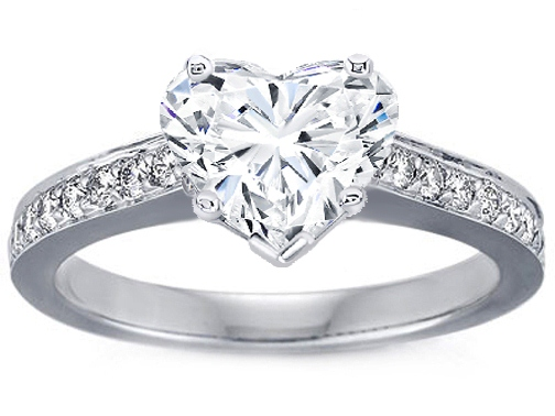 Heart Shape Diamond Cathedral Engagement Ring Diamond band 0.18 tcw. In 14K White Gold