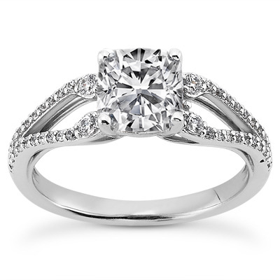 Petite Split Band Cushion Diamond Engagement Ring