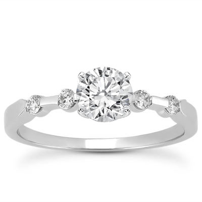 Petite Bar Set Engraved Diamond Engagement Ring