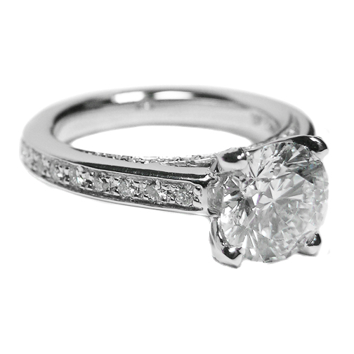 Cathedral Diamond Eternity Engagement Ring 1.13 tcw. In 14K White Gold