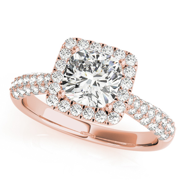 Etoil Style Cushion Diamond Halo Engagement Ring in Rose Gold