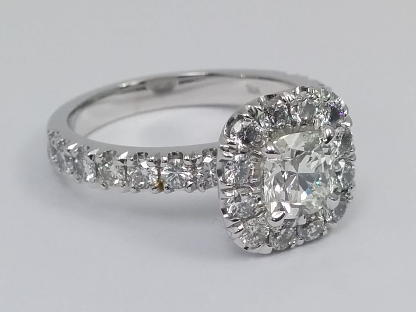 Cushion Halo Diamond Engagement Ring
