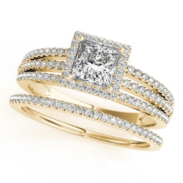 Petite Trinity Split Band Princess Halo Bridal Set in Yellow Gold