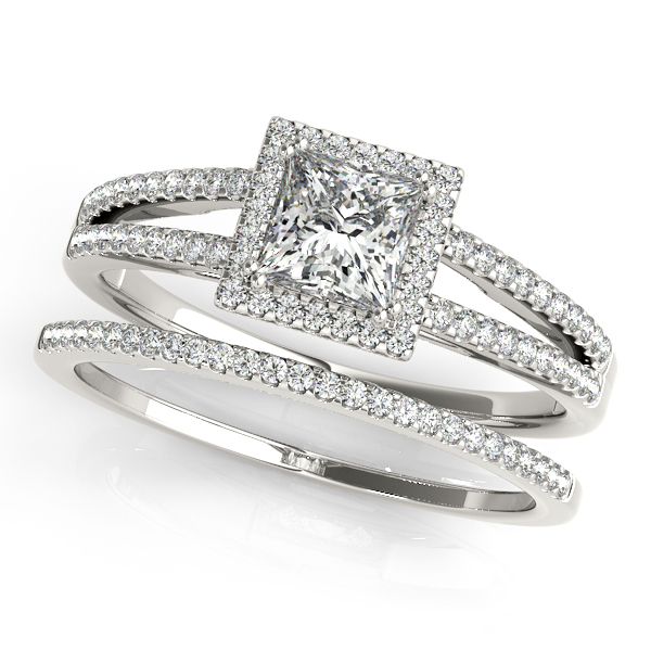 Petite Split Band Princess Halo Engagement Ring and Matching Band