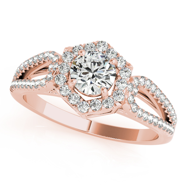 Hexagon Halo Split Band Engagement Ring and Matching Band in Rose Gold