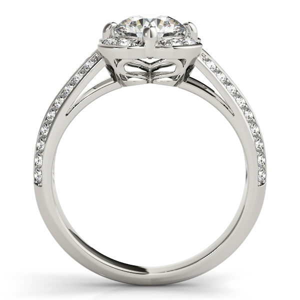 Floral Halo Double Helix Diamond Engagement Ring and Knife Edge Band