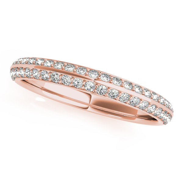 Floral Halo Double Helix Diamond Knife Edge Bridal Set in Rose Gold
