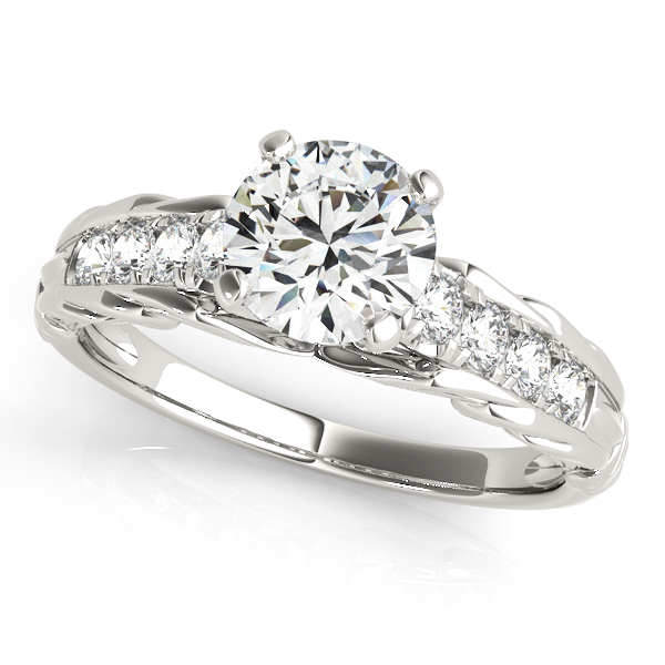 Vintage Style Engraved Diamond Engagement Ring