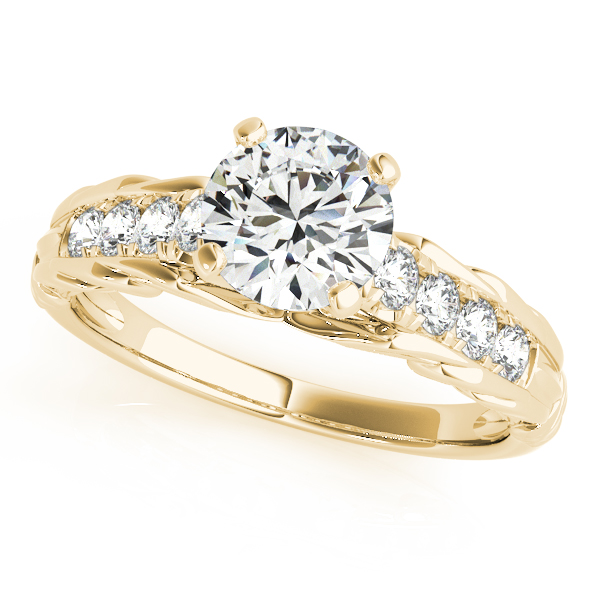 Vintage Style Engraved Diamond Engagement Ring in Yellow Gold