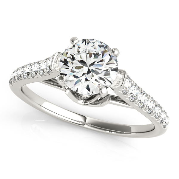 Floral Graduated Diamond Band Engagement Ring