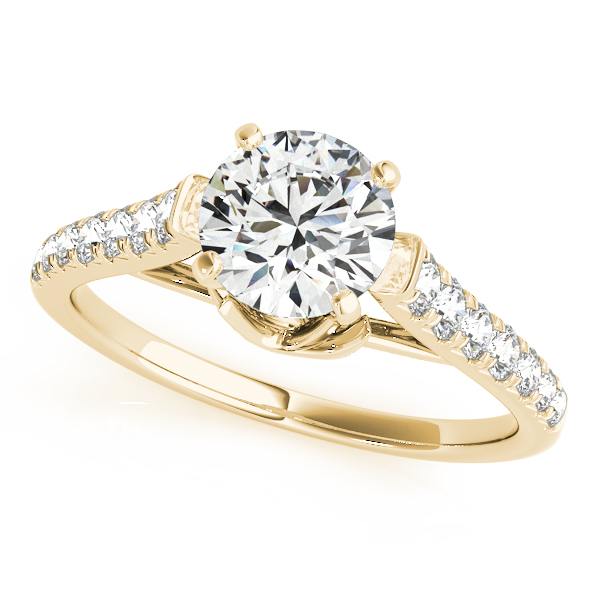 Floral Graduated Band Engagement Ring in Yellow Gold