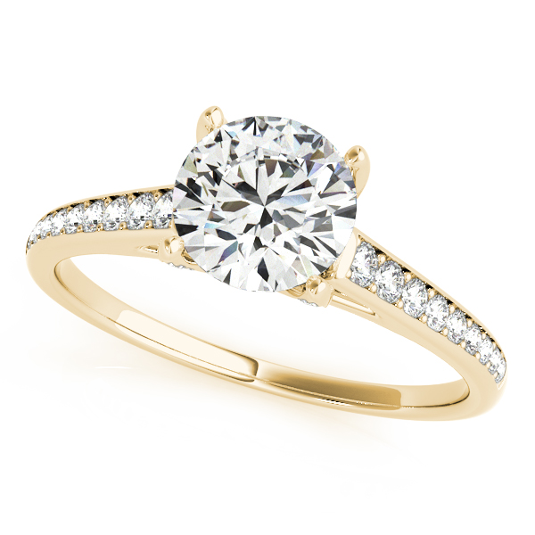 Diamond V Prong Cathedral Engagement Ring in Yellow Gold