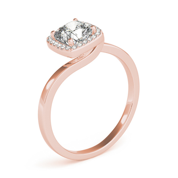 Cushion Diamond Halo Swirl Engagement Ring in Rose Gold