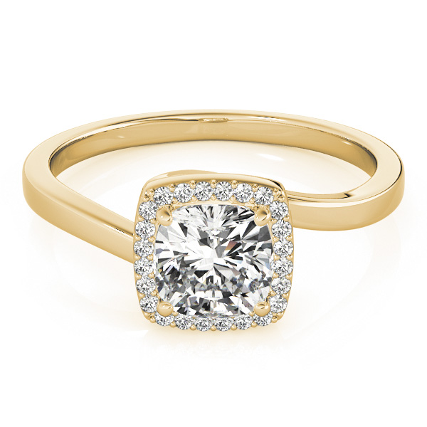 Cushion Diamond Halo Swirl Engagement Ring in Yellow Gold
