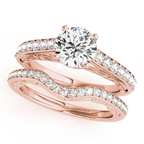 Cathedral Filigree Diamond Bridal Set in Rose Gold