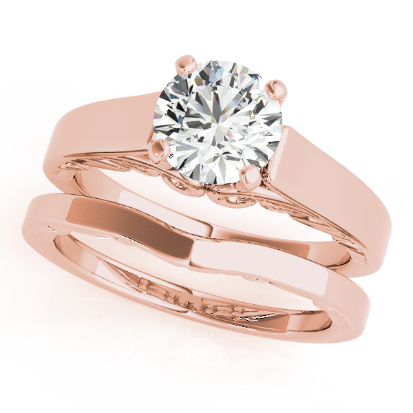 Solitaire Filigree Cathedral Engagement Ring and Band in Rose Gold
