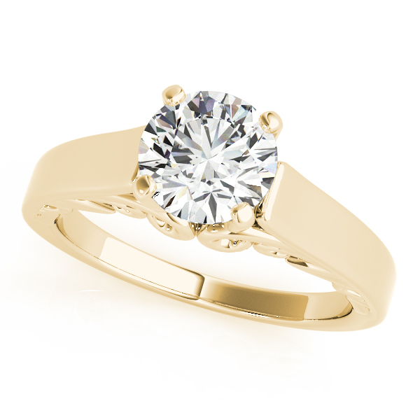 Solitaire Filigree Cathedral Engagement Ring in Yellow Gold