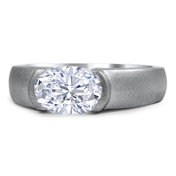 Dome Solitaire Oval Diamond Engagement Ring with Sand Blast Finish