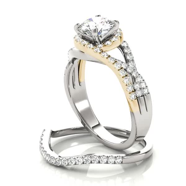 Engagement Ring Intertwined Two Tone Split Band Halo