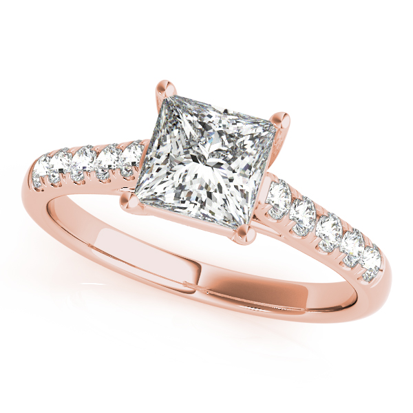 Petite Princess Cut Diamond Cathedral Trellis Engagement Ring & Wedding Band in Rose Gold