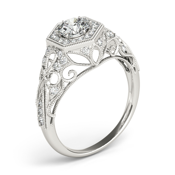 Vintage Hexagon Diamond Halo Engagement Ring with Filigree Band