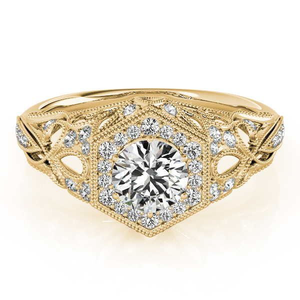 Vintage Hexagon Diamond Halo Engagement Ring with Filigree Band in Yellow Gold