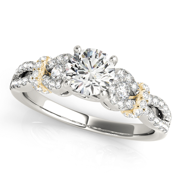 Petite Diamond Knot Engagement Ring with Split Band in Two-Tone