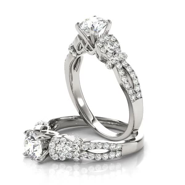 Petite Diamond Knot Engagement Ring with Split Band