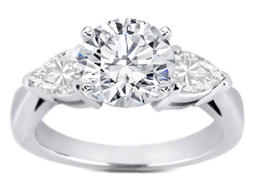 Diamond Engagement Ring Pear-Shape side stone 0.30 tcw. In 14K White Gold