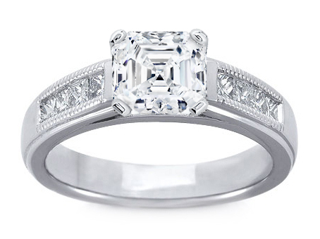 Milligrain Asscher Cut Diamond Cathedral Engagement Ring 0.32 tcw. In 14K White Gold