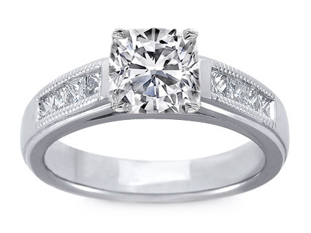 Milligrain Cushion Diamond Cathedral Engagement Ring 0.32 tcw.