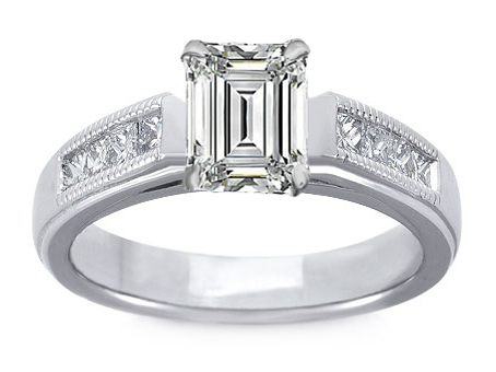 Milligrain Emerald Cut Diamond Cathedral Engagement Ring 0.32 tcw. In 14K White Gold