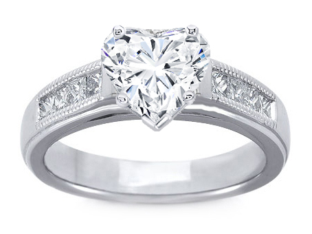 Milligrain Heart Shape Diamond Cathedral Engagement Ring 0.32 tcw. In 14K White Gold