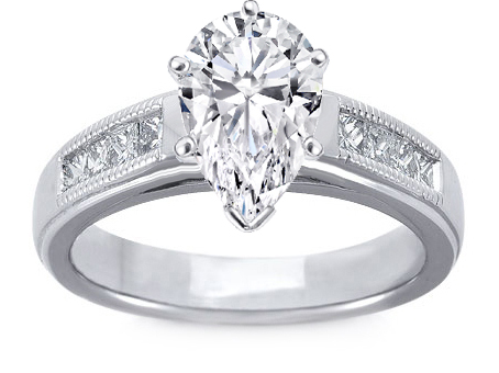 Milligrain Pear Shape Diamond Cathedral Engagement Ring 0.32 tcw.