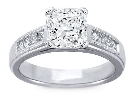 Milligrain Radiant Diamond Cathedral Engagement Ring 0.32 tcw. In 14K White Gold