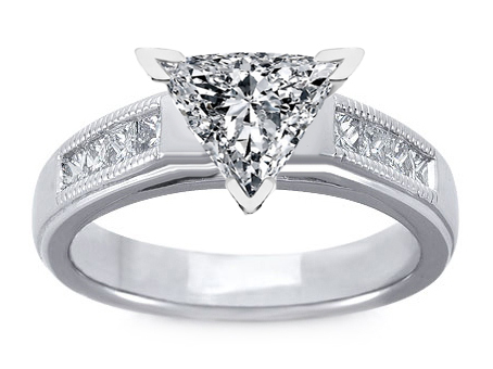 Milligrain Trillion Diamond Cathedral Engagement Ring 0.32 tcw. In 14K White Gold